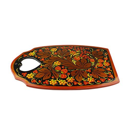 Galleria fotografica Khokhloma Tagliere fatto a mano in Russia tradizionale Vintage Retro classico dipinto a mano Decorazione sovietico Hohloma Folk Art regalo in legno laccato naturale