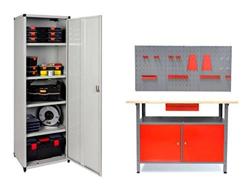 Werkstattset bestehend aus einer Werkbank, einer Lochwand mit Hakensortiment und einem XL Metallschrank. Preiswerte Werkstatteinrichtung für Hand- und Heimwerker!
