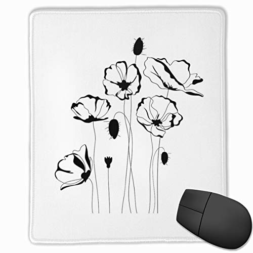Mouse Mat Stitched Edges, Monochrome Herbs With Buds On Skinny Stems Artistic Summer Corsage Composition,Gaming Mouse Pad Non-Slip Rubber Base -