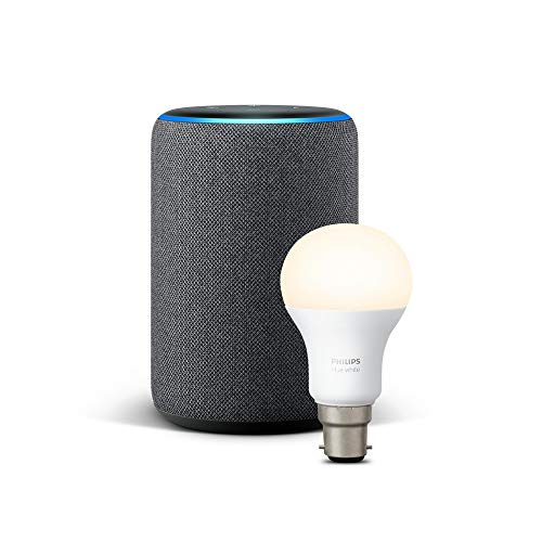 All-new Echo Plus (2nd Gen), Charcoal Fabric + Philips Hue White bulb B22