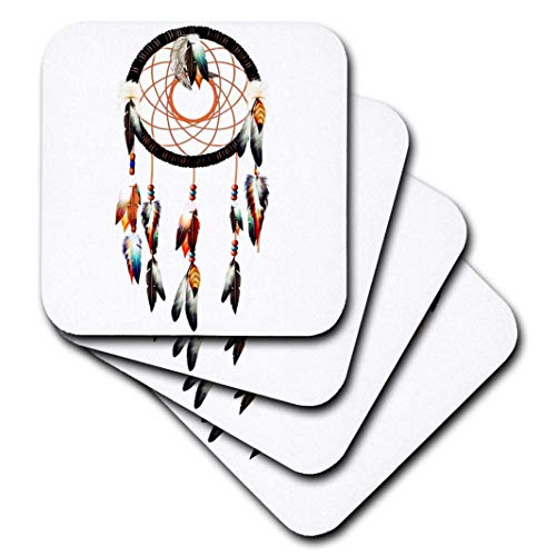 American Home Dream Flower (Dream Essence Designs Native American - Native American Dream Catcher Design, bunt, Federn und Perlen inspiriert. - Untersetzer, Gummi, set-of-4-Soft)