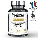 Apyforme - Acti beard - Complément alimentaire barbe spécial pousse - 7 ingrédients naturels - accélérateur de pousse de barbe efficace - 120 gélules végétales - Made in France