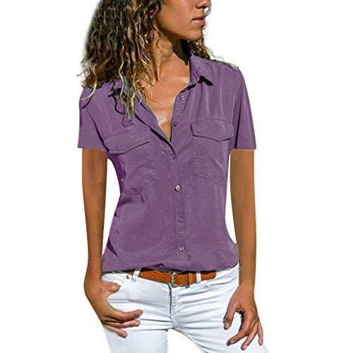 Metallic-satin-hut (ITISME FRAUEN BLUSE Damen ITISME damen BLUSE Casual Langarm Farbblock Streifen Button T Shirts Tops Bluse)