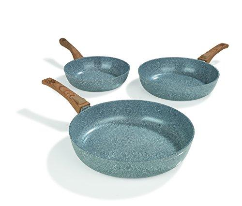 BRATmaxx Keramik-Pfannen Granit-Optik 20/24/28 cm + 2 Pfannenschoner