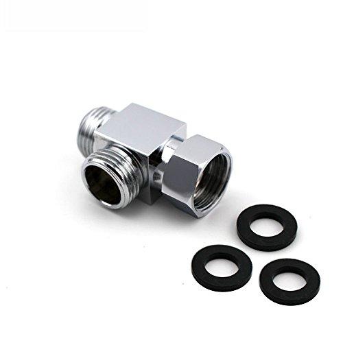 LumenTY Duscharm, Messing, 3-Wege-Umstellventil, Schlauch-T-Anschluss, Standardmäßige G-1/2-Zoll-Handbrause (12,7 mm), Ersatzteil, Durchflussregler, Splitter, T-Gelenk, T-Adapter, poliert, Chrom