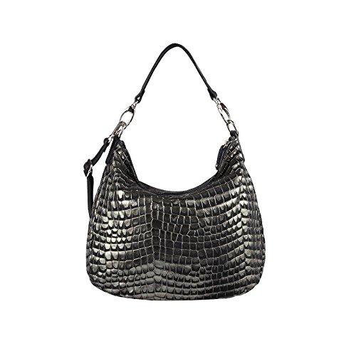 OBC Leder Metallic Damen Tasche Schultertasche Umhängetasche Handtasche Henkeltasche Shopper Hobo-Bag (Beige 43x35x15 cm) Schwarz-Gold