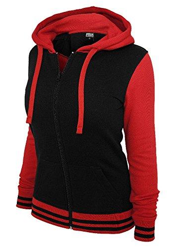 Urban Classics Femmes College Capuche Fermeture Éclair bicolore - plusieurs couleurs Noir/Rouge