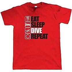 vectorbomb Eat Sleep Plongée Répétition, Hommes Plongée T-Shirt - Rouge, L