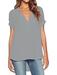 Lukis Damen Chiffon Bluse Top Oberteile Shirt Kurzarm