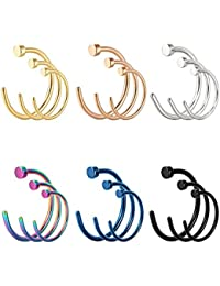 18 Pieces 20 G C Shape Nose Ring Stainless Steel Nose Hoops Body Piercing Jewelry for Men Women, 3 Sizes