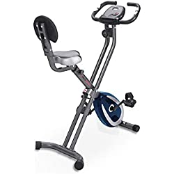Ultrasport F-Bike 300B Vélo Dossier, Ordinateur d'Entraînement et Application, Facilement Pliable d'Appartement Mixte Adulte, Gris Foncé/Bleu Marine