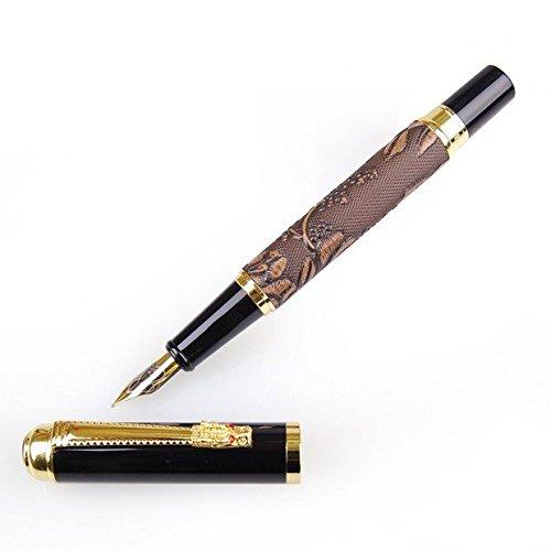 Brand New Dikawen 891-Penna stilografica con pennino medio con marrone UVA Engravement compleanno regalo di Natale