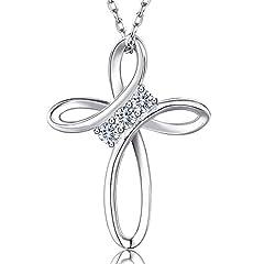 Idea Regalo - Billie Bijoux in argento sterling 925 infinito amore Croce di Dio Diamante CZ placcato in oro bianco Collana pendente Regalo di gioielli perfetti per donne ragazze 18