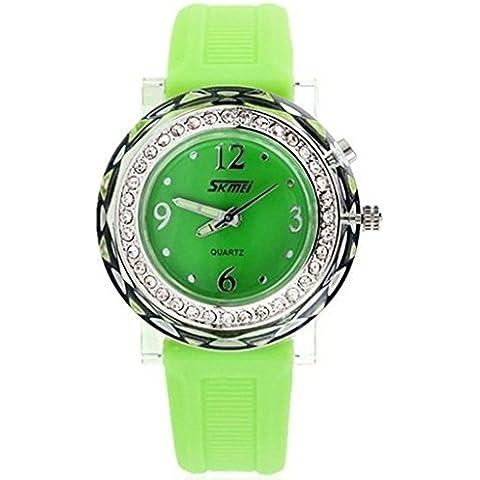 downj Verde in silicone con strass glitter luce LED quarzo impermeabile bambini Orologi