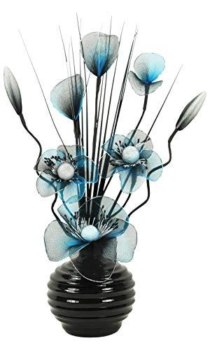 Türkis Blau Schwarz Künstliche Blumen Mit Schwarz Vase, Deko, Wohnaccessoires & Deko Geeignet für Bad, Schlafzimmer Oder Küche Fenster / Regal, 32cm (Türkis Blumen)