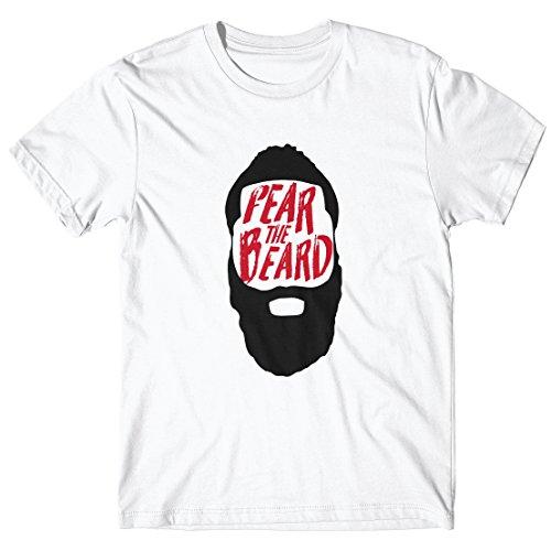 LaMAGLIERIA Camiseta Hombre Harden - Fear The Beard - Camiseta 100% algodòn, M, Blanco