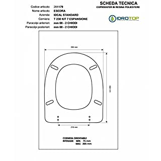Whispered esedera Ideal Standard Blue Zip Slowed Soft Close Toilet cromo-sedile-asse
