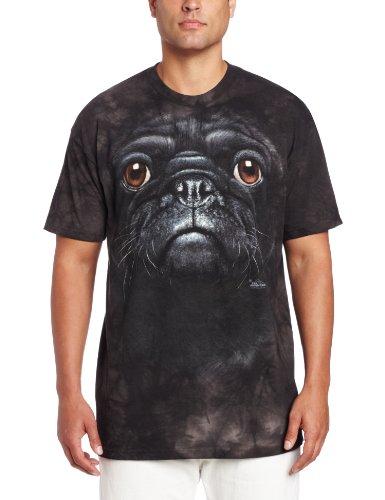 Black Pug Dog Face Schwarze Bulldogge Erwachsenen T-Shirt in Größe L