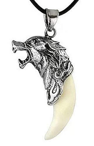 KIRALOVE Halskette Indianer Anhänger Zahn Wolf Indianer Geschenkidee Bruce Lee Ethnischer Mann Junge Bijoux Weihnachten Valentinstag Geburtstag Schmuck Ihn