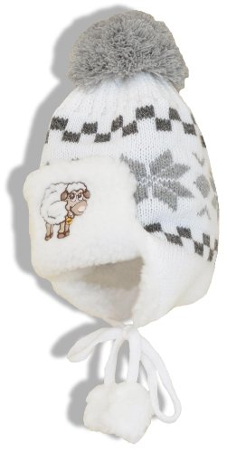 SamWo Chauffe-reins, bébé Bonnet d'hiver/bonnet tricoté avec doublure fourrure, 2–6ans blanc/gris