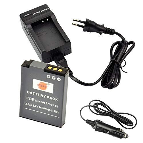 DSTE Ricambio Batteria + DC03E Caricabatteria per Nikon EN-EL12 Coolpix P300 P310 P330 P340 S31 S70 S610 S620 S630 S640 S800c S1000pj S1100pj S1200pj S6000 S6100 S6150 S6200 S6300 S8000 S8100