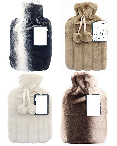 Ram® 2 Litre Hot Water Bottle with Luxury Fluffy Fur Cover | Large 2L Capacity with Removable Fleece Covers (Random Pick)
