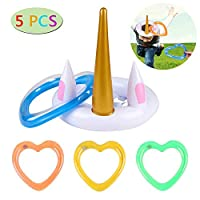 Pro-sanny Inflatable Unicorn Ring Toss Game Hoop Pool Toy Floating Swimming Ring for Favor for Garden Party Beach Supplies Decor for Adults Kids Funny Family Games
