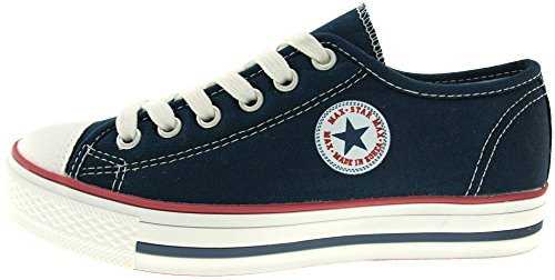 maxstar C1 6-holes Casual Leinwand Low Sneakers Schuhe C1-Navy