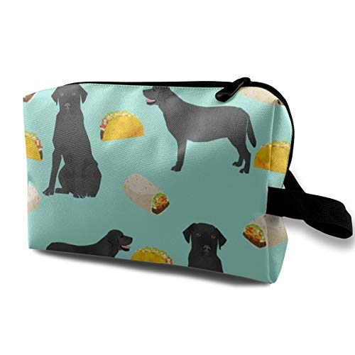 Black Labrador Tacos Food Black Lab Labrador Retriever Food Novelty Dog Print for Lab Owners Cute Dogs Dog Print Travel Makeup Cute Cosmetic Case Organizer Portable Storage Bag for Women