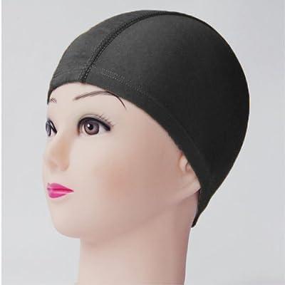 HuntGold Modern Sommer Unisex Frauen Männer Elastic rein Farbe schwimme Tümpel Schwimmen Hut Mütze(schwarz)