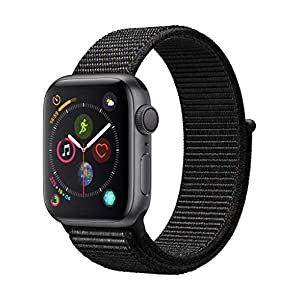 Apple Watch Series 4 (GPS) 40mm Aluminiumgehäuse, Space Grau, mit Sport Loop, Schwarz