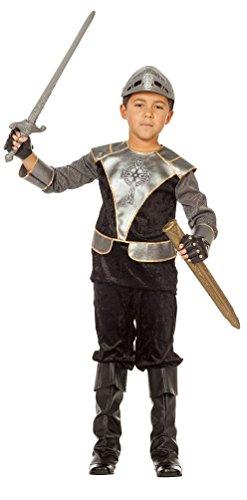 Karneval-Klamotten Ritter Kostüm Kinder Ritterkostüm schwarz-Silber Kreuzritter Mittelalter Fasching Größe - Silber Ritter Kinder Kostüm