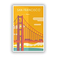 2 x 10cm/100mm San Francisco USA Vinyl Stickers Travel Luggage #7996