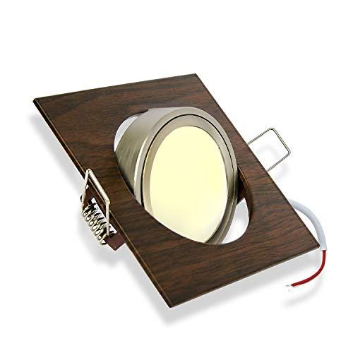 LED Einbaustrahler 5W warmweiß 230V dimmbar, schwenkbar und super flach - Aluminium Holz-Optik braun eckig - 80mm Bohrloch Spot Decken-Strahler Deckeneinbaustrahler Deckenspot Einbauspot - Super Optik