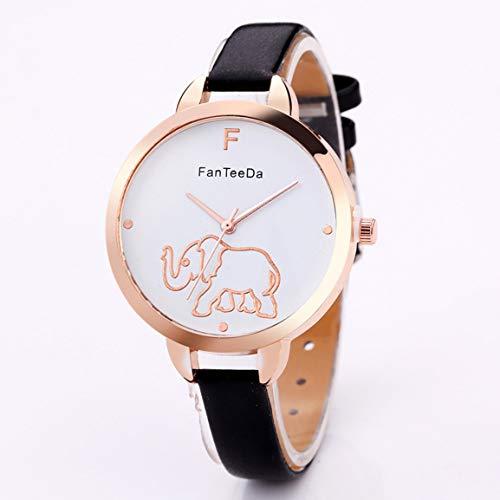 Elefante de la historieta de las mujeres del reloj de la marca de lujo ocasional de las mujeres de metal redondo grande del dial banda de cuero reloj de pulsera de cuarzo de las señoras del reloj