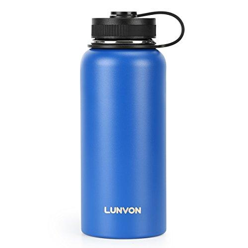 Lunvon Termo 900 ML Botella de Vacío Botella Térmica con 3 Tapones, Acero Inoxidable con Aislamiento Por Vacío, Para Uso en Entrenamientos, Oficina, Gym, Exteriores, Apto Para Bicicleta, Azul