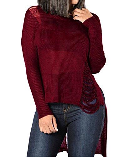 VIGVOG Damen Sweatshirt schwarz schwarz M Gr. L, burgunderfarben (Shirt Pique Knit Sleeve)