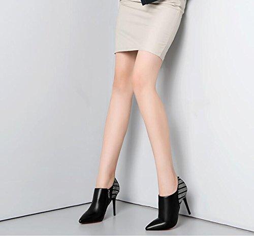 KHSKX-Nero 9Cm High-Heeled Bene Con Stivaletti In Pelle High-Heeled Appuntita Stivali Lato Deep-Boots Zipper Scarpe Moda 35 39