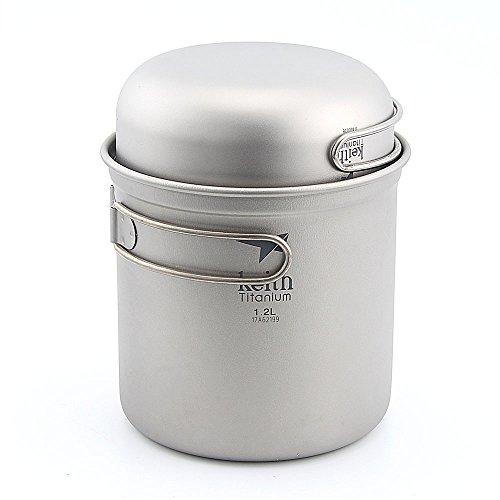 Keith Ti6051 0.4L + 1.2L Titanium Cookware Pot Outdoor Camping Ultralight Titanium Cookware