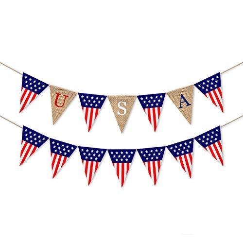 Tensay Mehrfarbig Wimpel Dreieck Flaggen Leinen Bunting Banner Patriotische Dekorationen American Independence für Geburtstag Hochzeit Outdoor Indoor Aktivität Party Dekoration Zubehör -