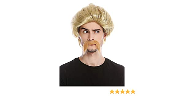 0025-ZA89 Perruque et Longue Moustache Homme gaulois germains Barde Flic cop ann/ées 70 Brun WIG ME UP /®