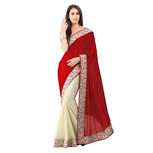 Aagaman-Fashion-Faux-Georgette-Lycra-Sarees-TSSF9004GMaroon