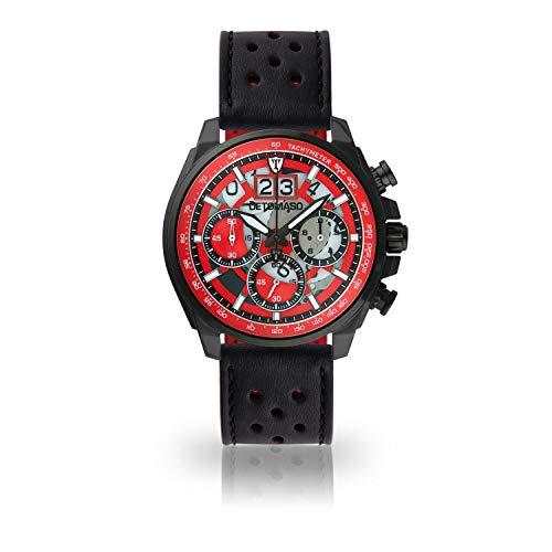 DETOMASO LIVELLO Mens Wristwatch Chronograph Analogue Quartz Black Racing Leather Strap red dial DT2060-C-841