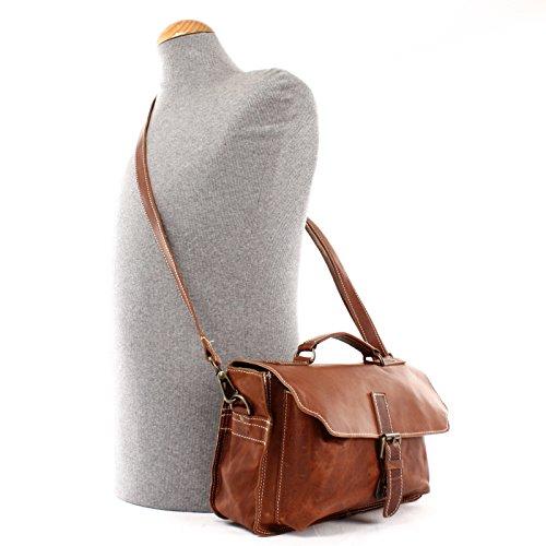 LECONI kleine Umhängetasche Leder Used look Schultertasche Damen & Herren Schultertasche Ledertasche 31x20x10cm LE3023 braun mit hellen Nähten