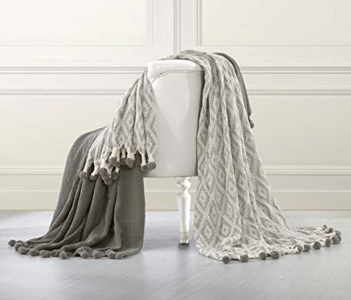 100 Pct Baumwolle (PCT 100% Diamant Labyrinth Pom Pom Überwurf, Baumwolle, Beige, 2-teilig)