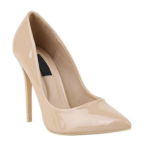 Elegante Damen High Heels Spitze Pumps Lack Metallic Stiletto Samt Glitzer Nieten Abend Business Schuhe 142123 Creme Lack 39 Flandell