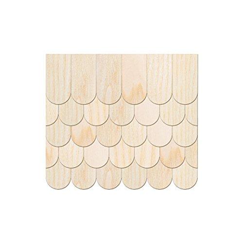 Echtholz Furnier helle Schindeln - halbrund - Biberschwanz - Größen- und Mengenauswahl, Schindelgröße:25mm x 12.5mm, Pack mit:500 Stück