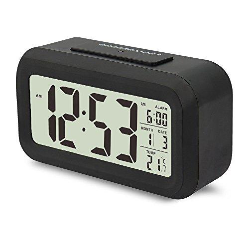 JTDEAL Digital Alarm Uhr (13,5cm), LED Reise Wecker Nachttisch Uhr mit Kalender TEMPERATUR Display Schlummerfunktion Sensor Licht für Home Office Travel Kinder und Jugendliche, batteriebetrieben großes Display Smart weiß Hintergrundbeleuchtung einfach zu Set und sehen,, Silent