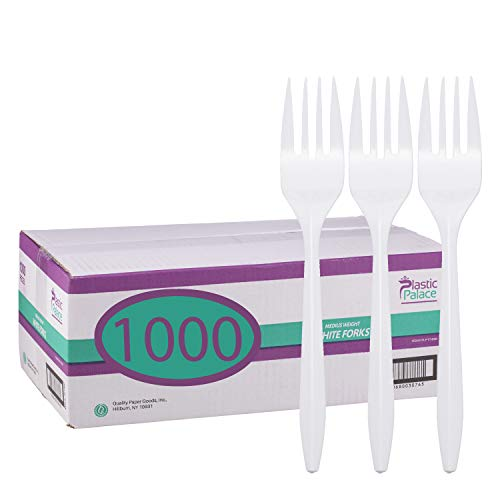 Einweg Kunststoff Besteck in Bulk, mittel Gewicht & Weiß (1000Stück) von Kunststoff Palace Forks weiß