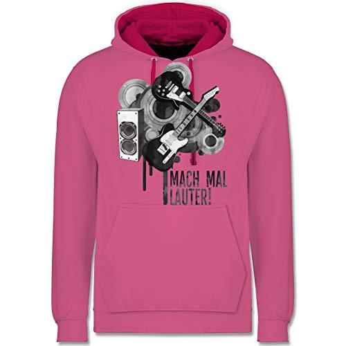 Statement Shirts - Mach mal lauter! - L - Rosa/Fuchsia - JH003 - Kontrast Hoodie